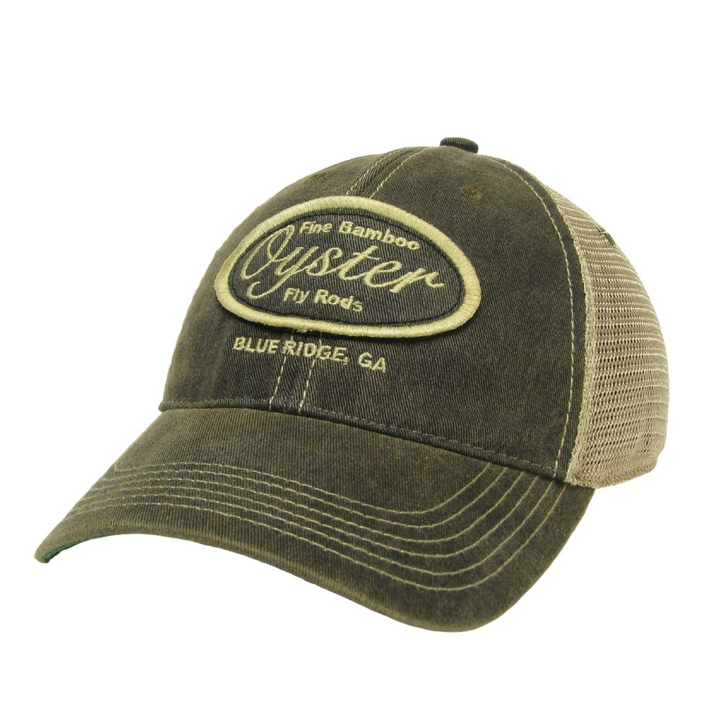 dark grey legacy old favorite trucker hat oyster bamboo fly rods