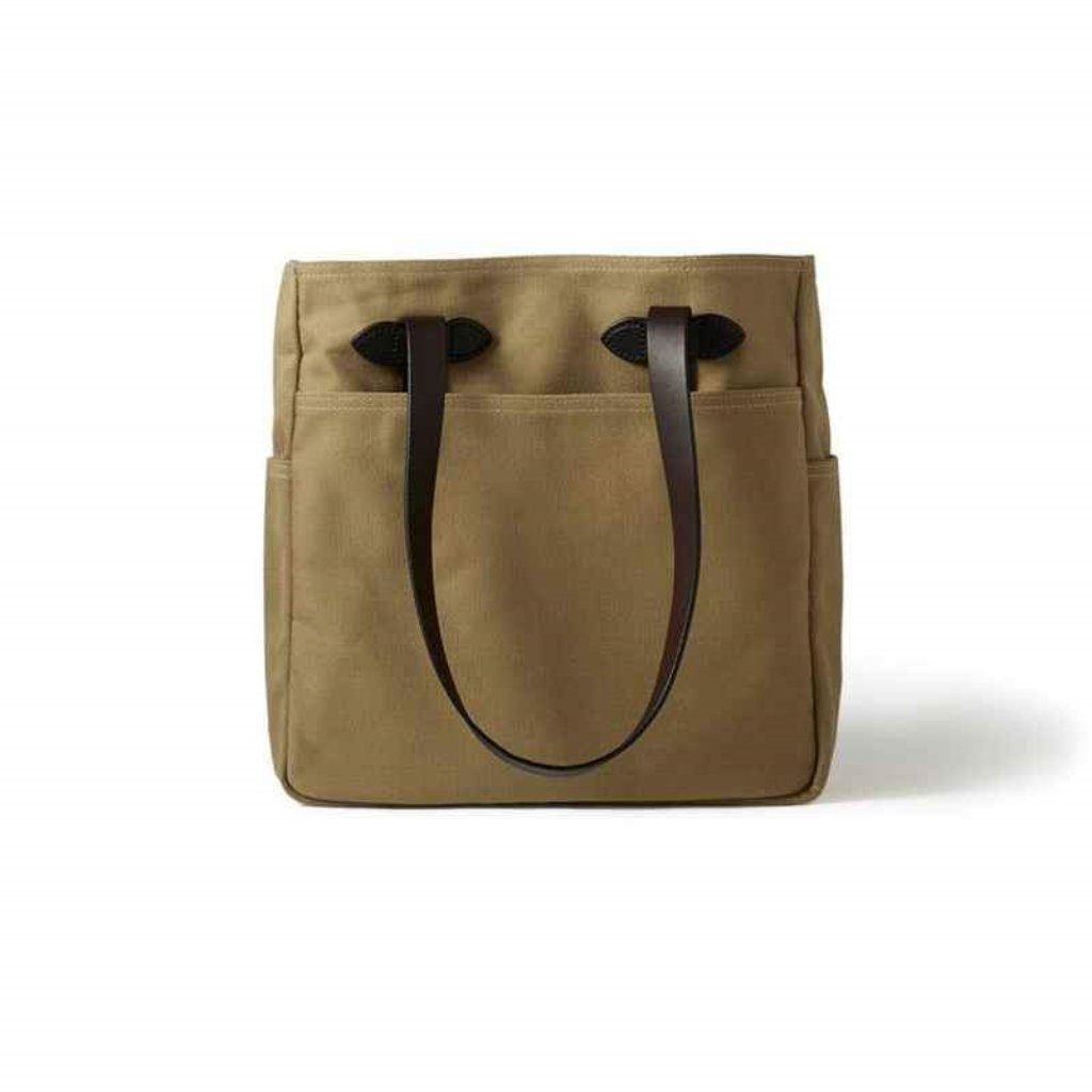 Tan Filson Tote Bag without Zipper Oyster Bamboo Fly Rods