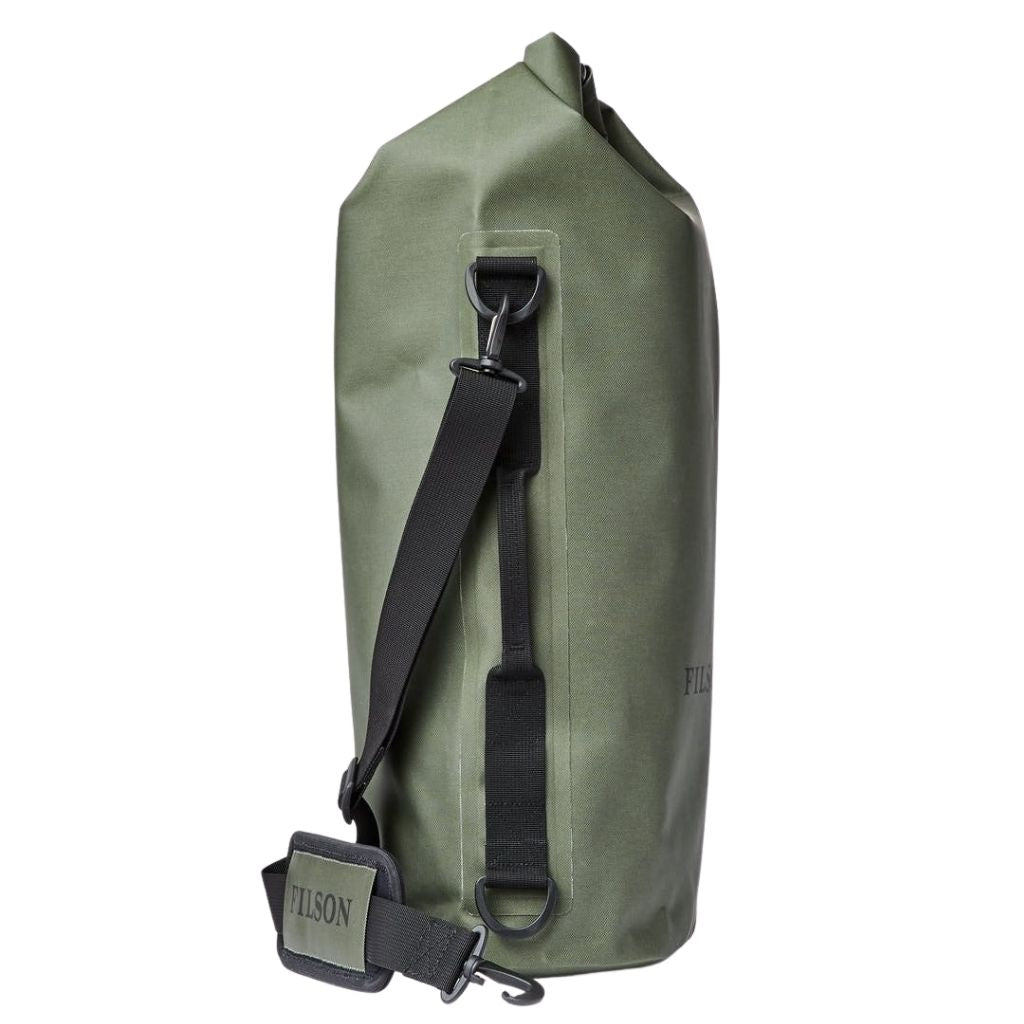 side view of filson large dry bag at oyster bamboo fly rods