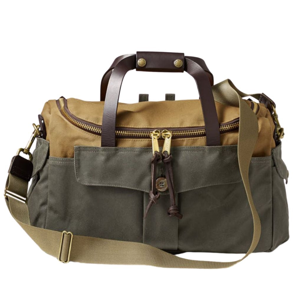 filson heritage sportsman bag oyster bamboo fly rod