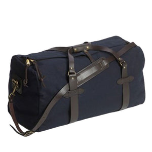 Filson medium duffle navy blue oyster bamboo fly rods gift