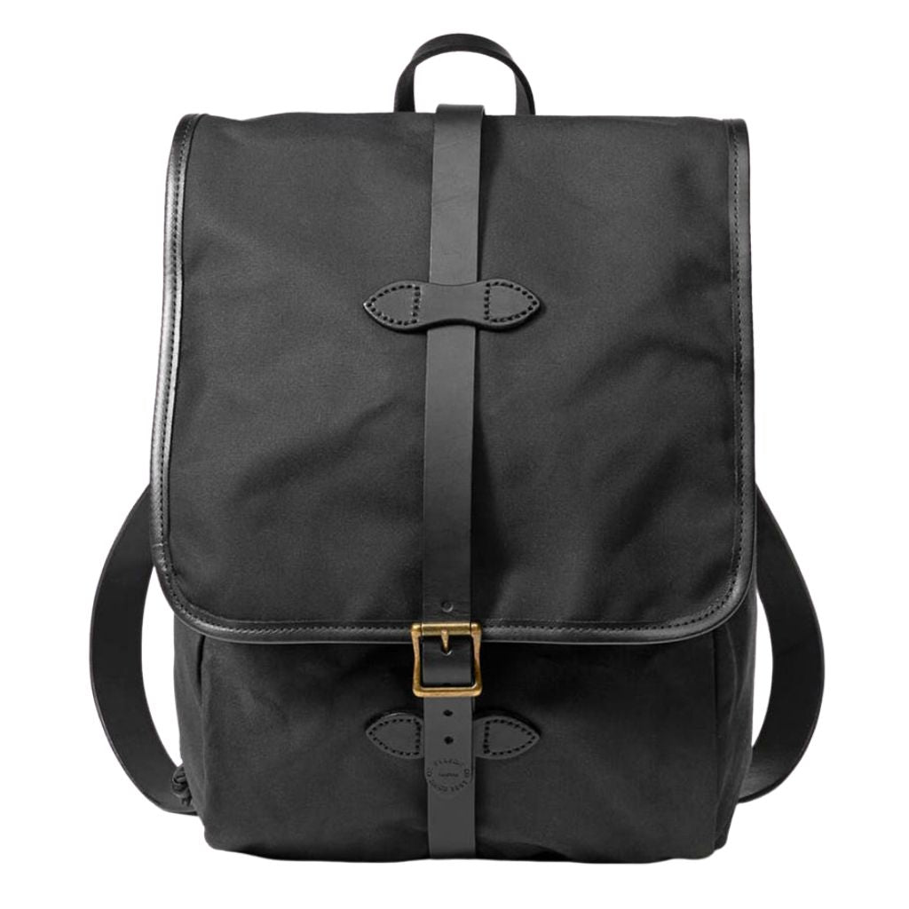 Navy Filson Tin Cloth Backpack Oyster Bamboo Fly Rods