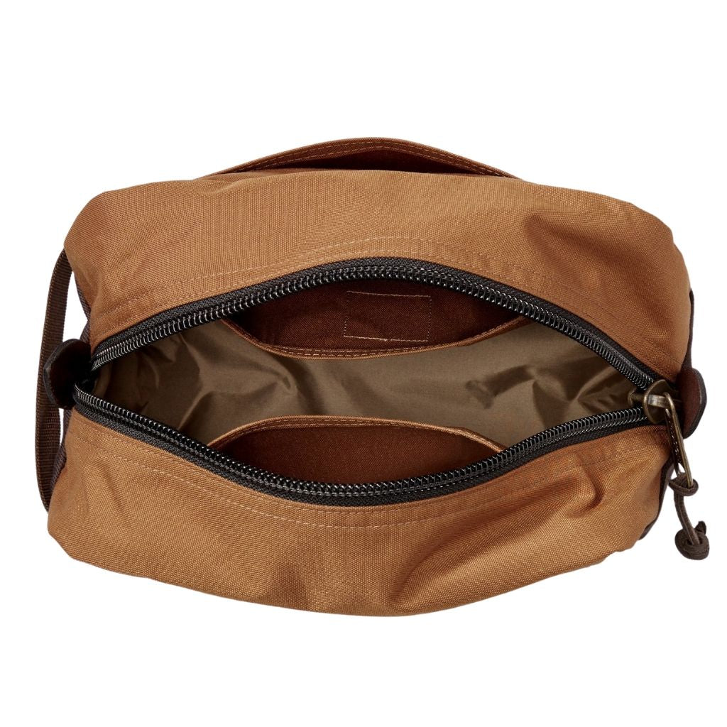 Inside of Whiskey Filson Travel Pack Oyster Bamboo Fly Rods