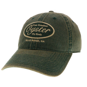 Green 6 panel Legacy Hat Oyster Bamboo Fly Rods