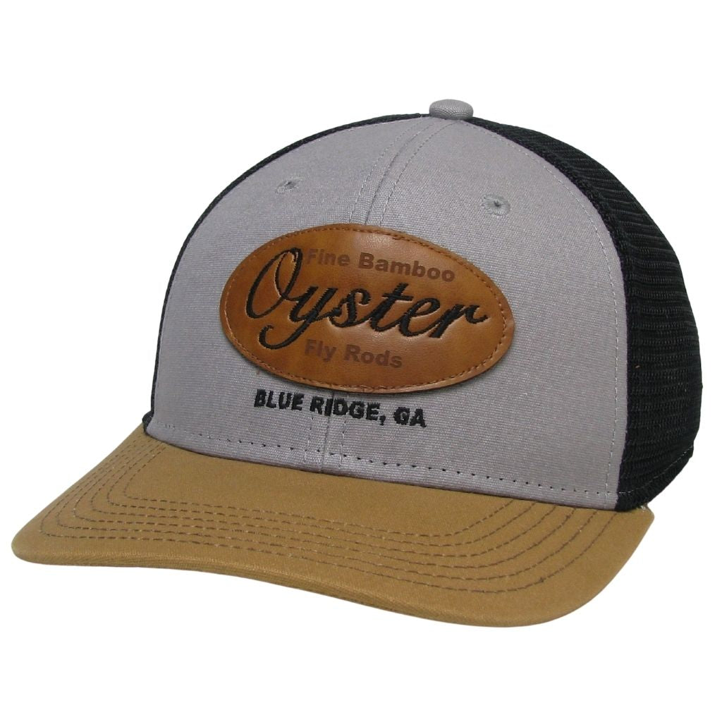 grey caramel leather patch mid pro snapback oyster bamboo fly rods trucker hat