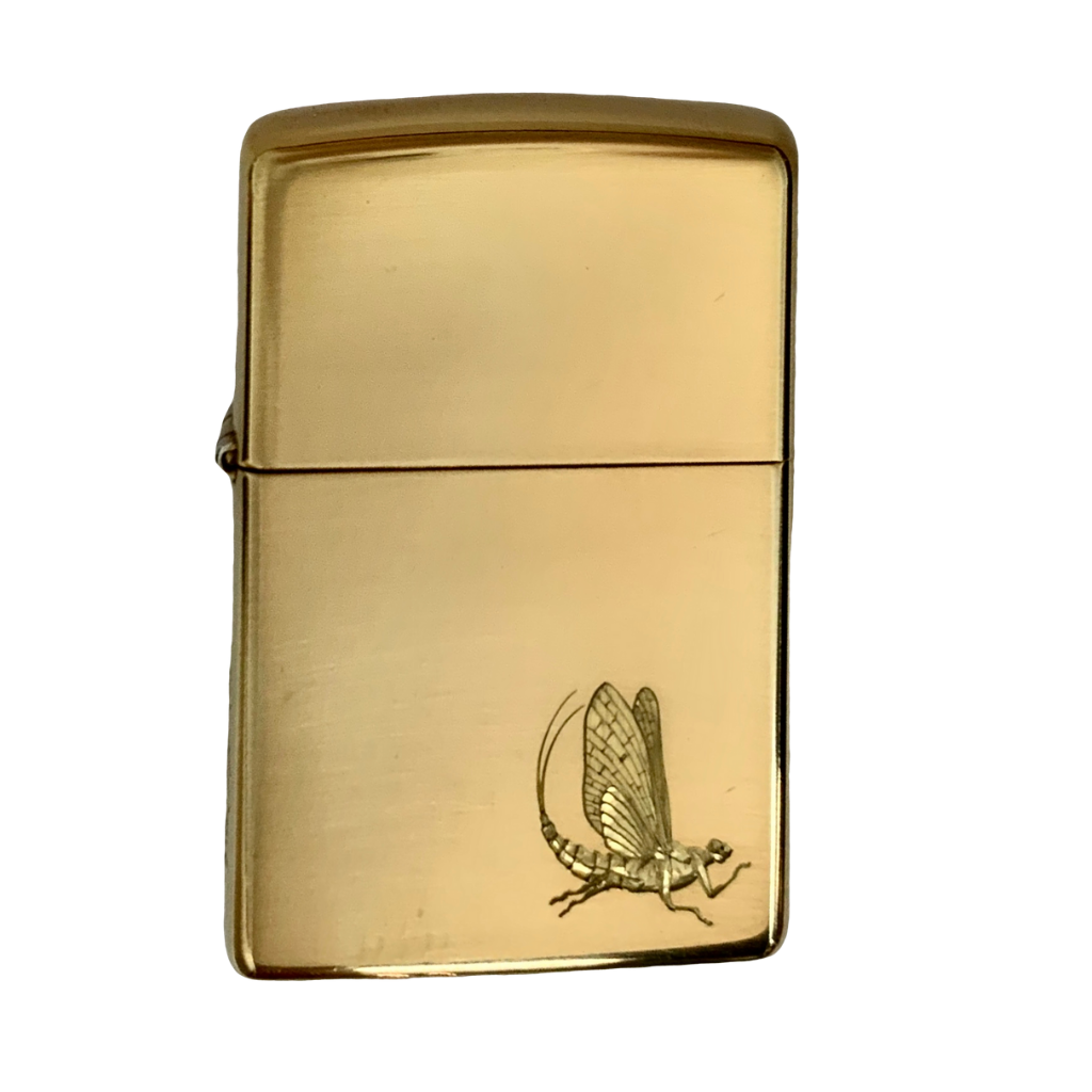 hand engraved mayfly by bill oyster on zippo