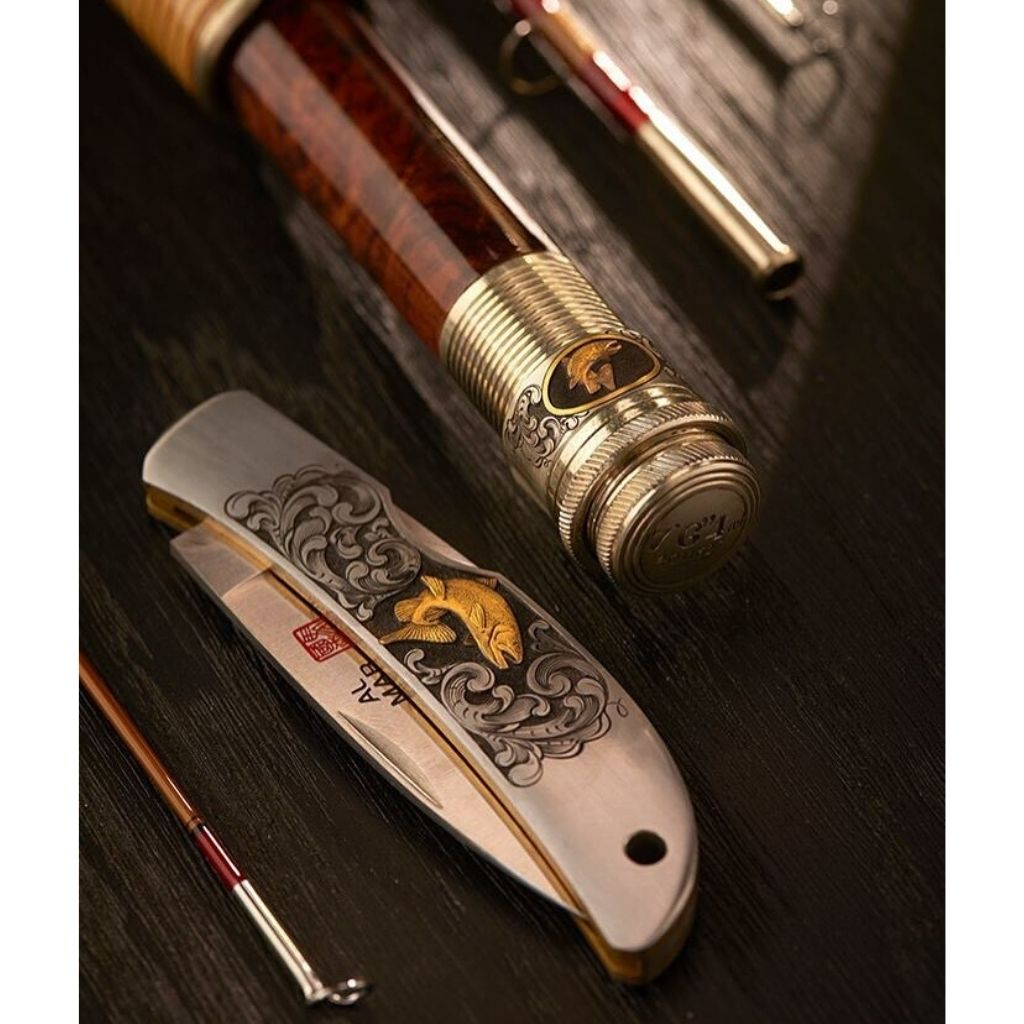 matching oyster bamboo fly rod and al mar knife hand engraved by bill oyster