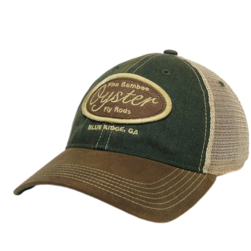 green and brown legacy old favorite trucker hat oyster bamboo fly rods