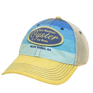 blue stripe legacy trucker hat oyster bamboo fly rods