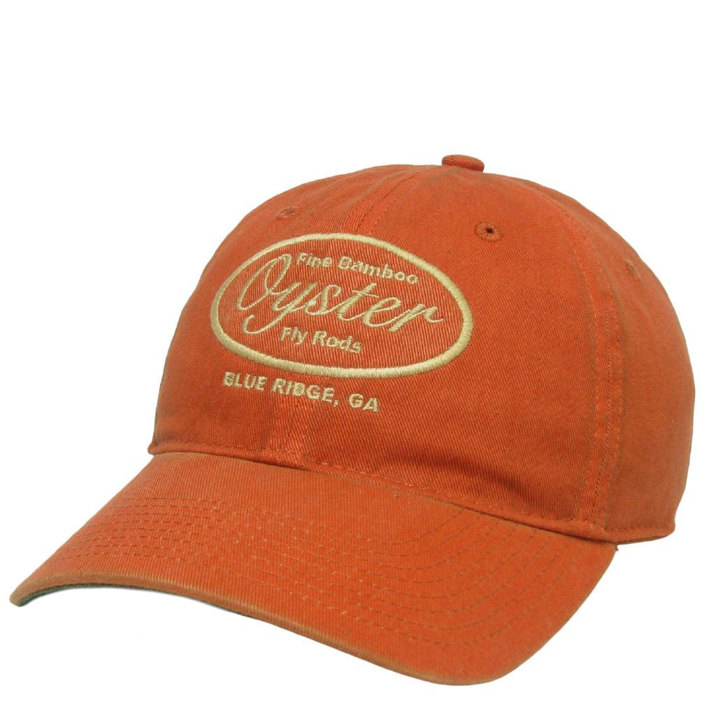 orange 6 panel legacy hat oyster bamboo fly rods
