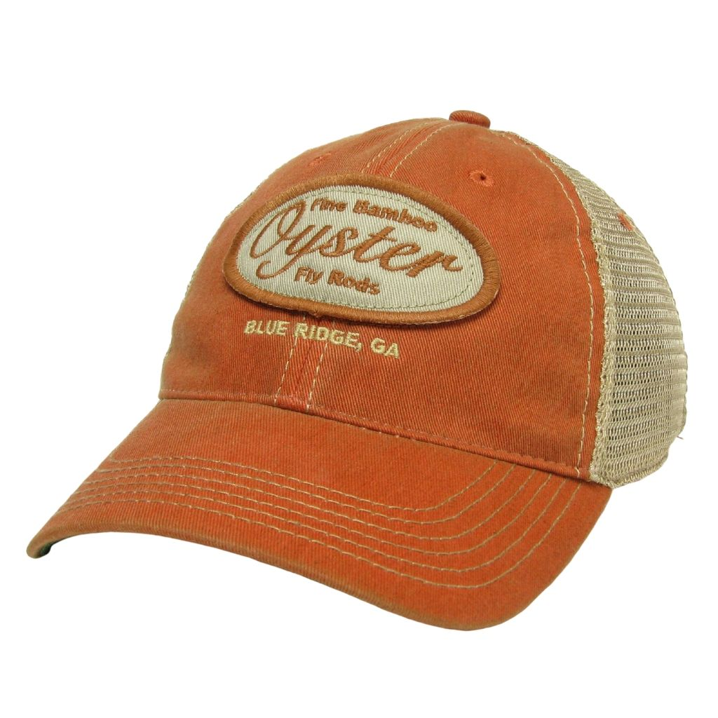 orange legacy trucker hat oyster bamboo fly rods