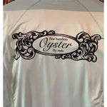 oyster bamboo fly rods scroll logo on simms solarflex fishing shirts