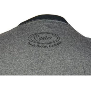 oyster logo on backside of oyster bamboo fly rod t-shirt