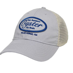 silver and royal blue legacy old favorite trucker hat oyster bamboo fly rods