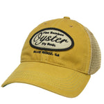 yellow with brown patch legacy trucker hat oyster bamboo fly rod
