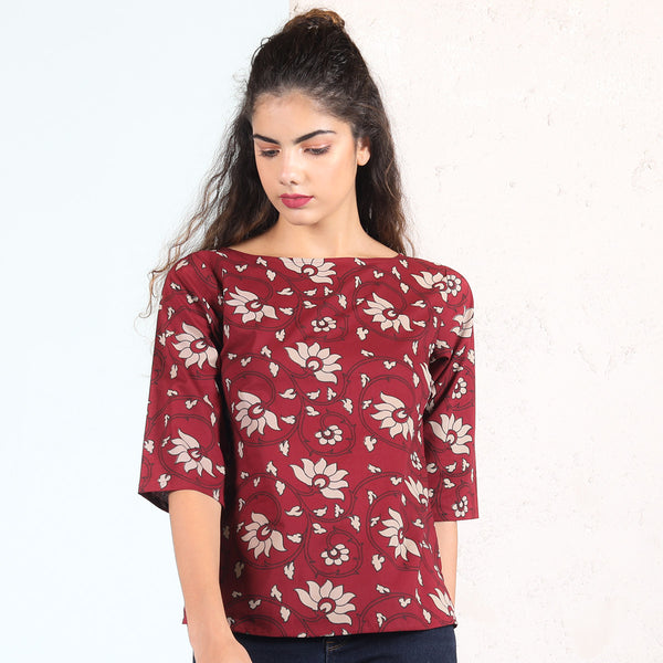 Maroon with Floral Printed Top