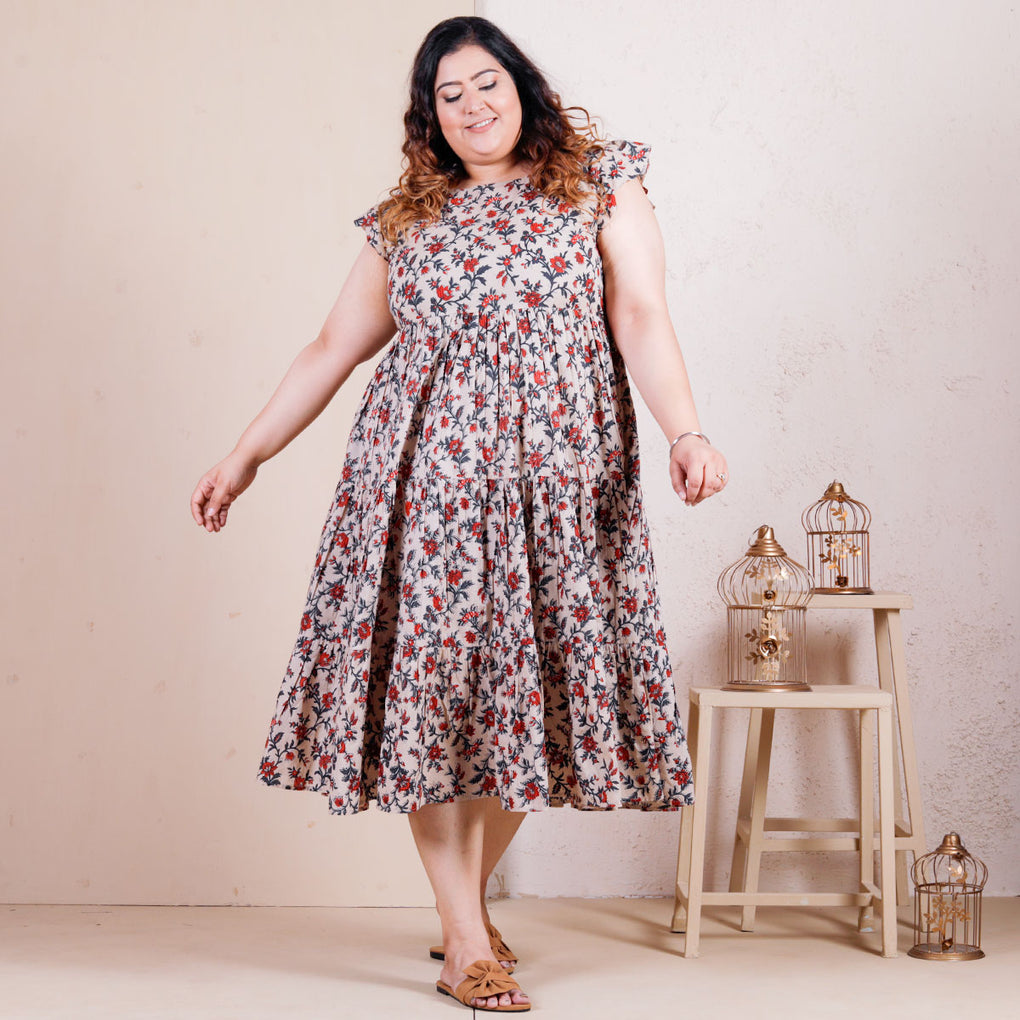 Beige Floral Jaal Cotton Tier Dress - SOY