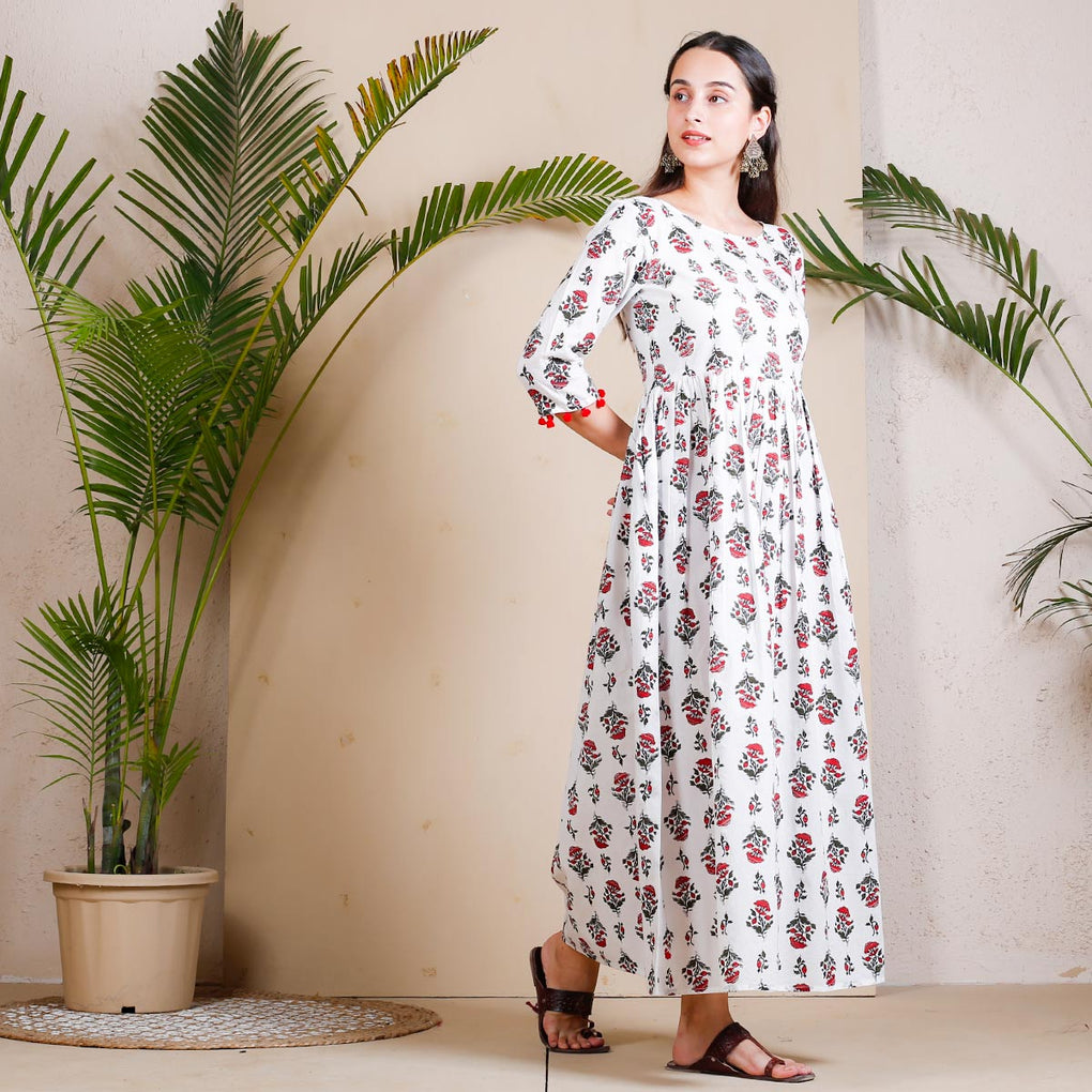 White Sanganeri Prints Inspired Gather Cotton Dress