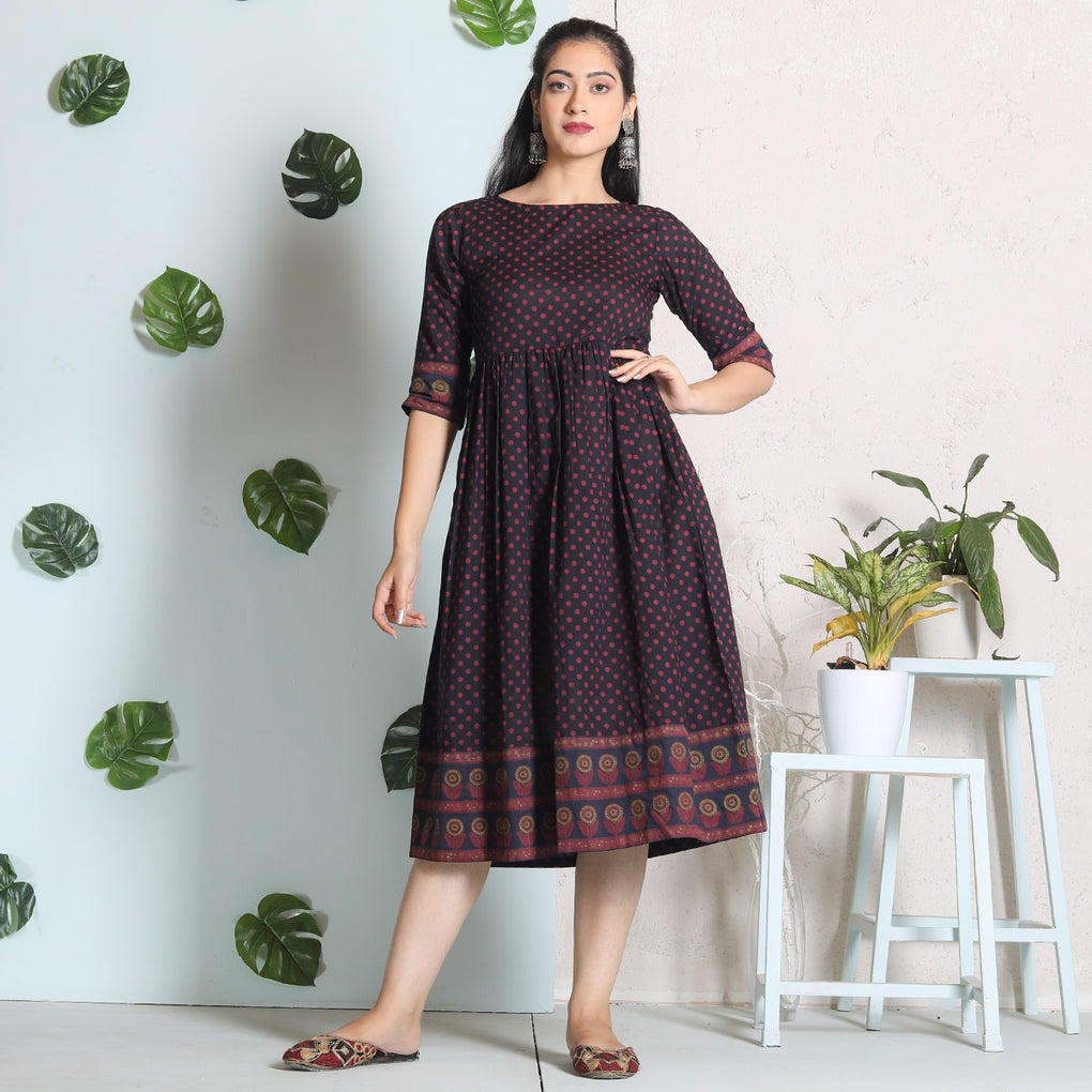 Black Maroon Polka Cotton Gather Dress
