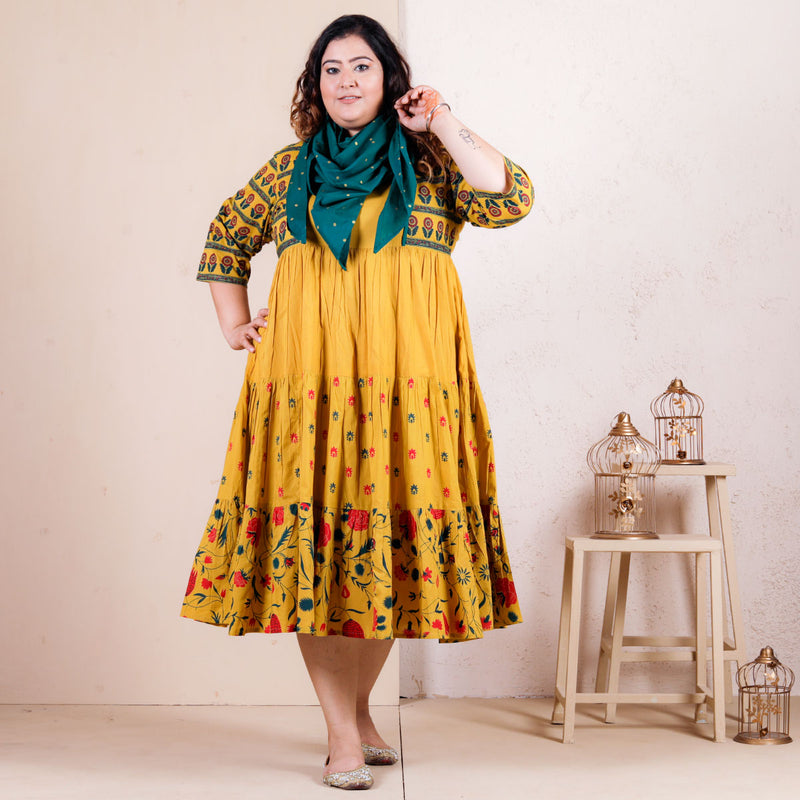 Yellow Floral Printed Tiered Dress with Scarf - SOY
