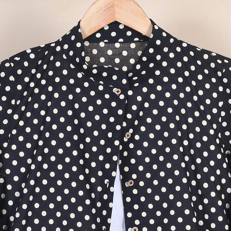 Black Polka Printed Shirt Dress
