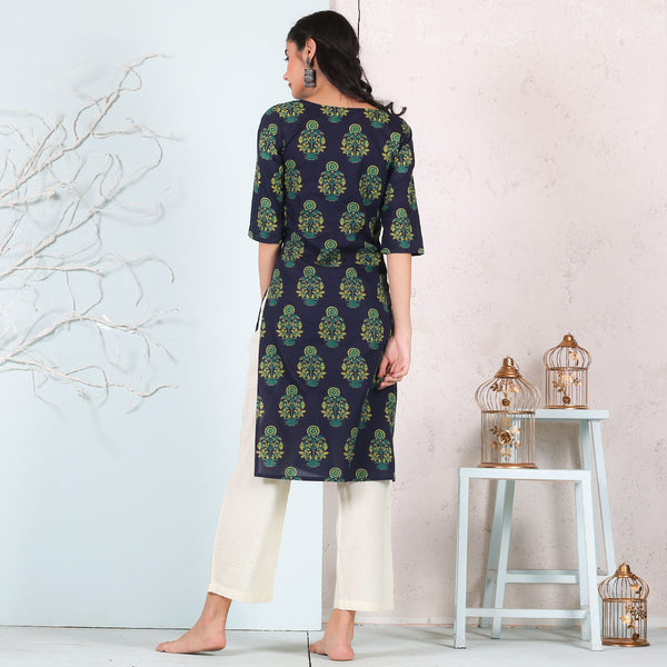 Blue Wild Flower Kurta