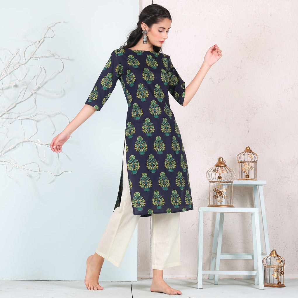 Blue Wild Flower Cotton Kurta