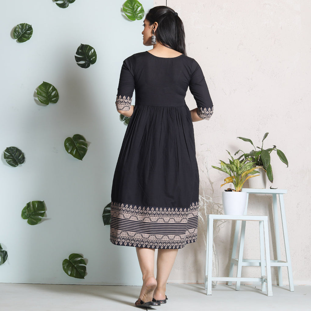 Classic Black with Heavy Border Detail Cotton Gather Dress