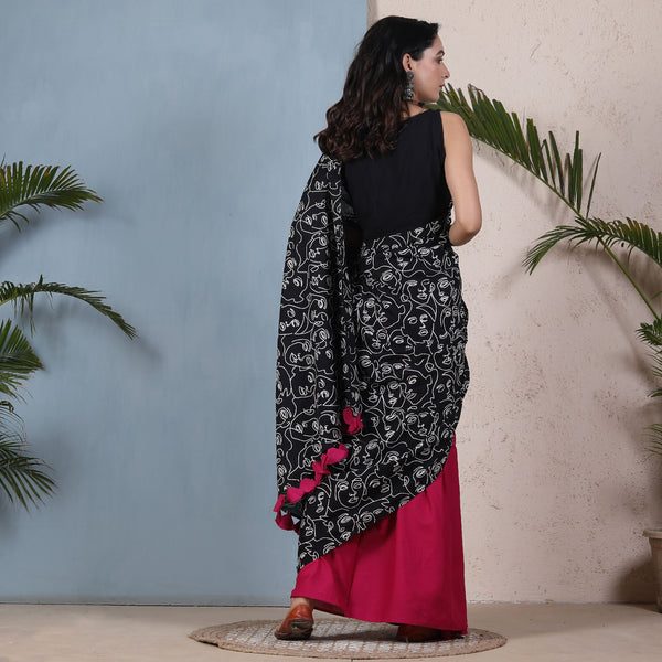 Oh Womaniya Black & Magenta Half & Half Saree with Tassels