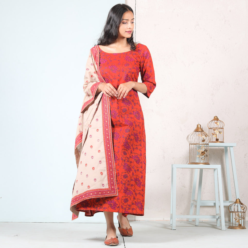 Rust & Pink Floral Jal A-Line Cotton Long Kurti Dress With Odhna