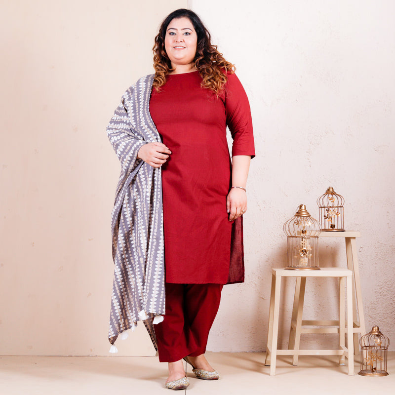 Maroon Salwar Kurta Set with Grey Dupatta - SOY