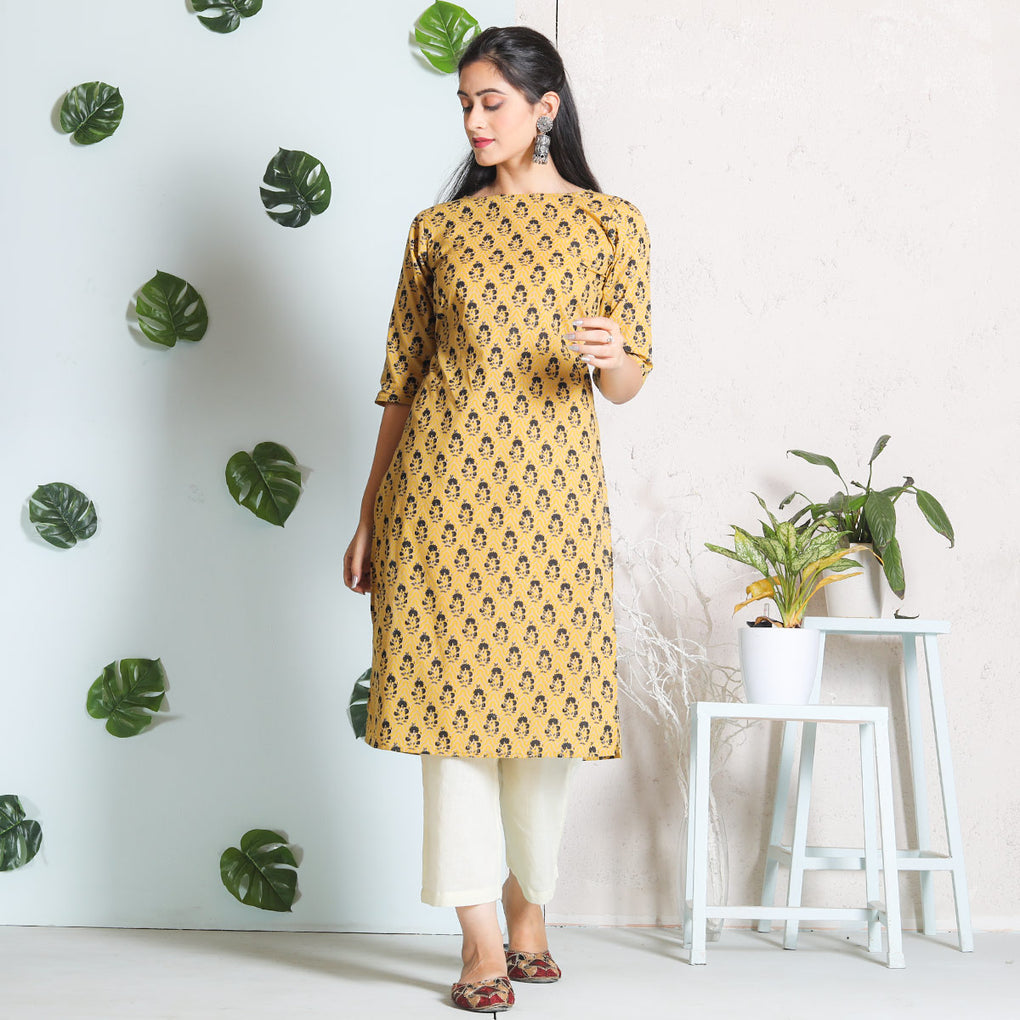 Yellow with Black Buti Cotton Kurta