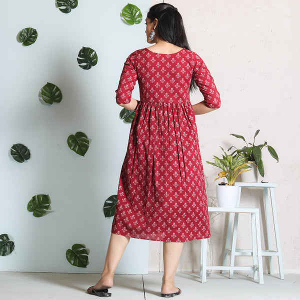 Maroon Blossom Cotton Gather Dress