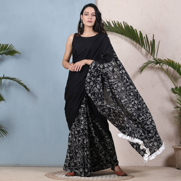 Oh Womaniya All Black Half & Half Saree with Tassels