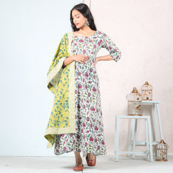 White Baghban A-Line Long Dress with Olive Odhna