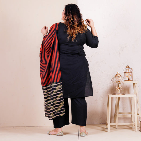 Black Salwar Kurta with Printed Dupatta - SOY