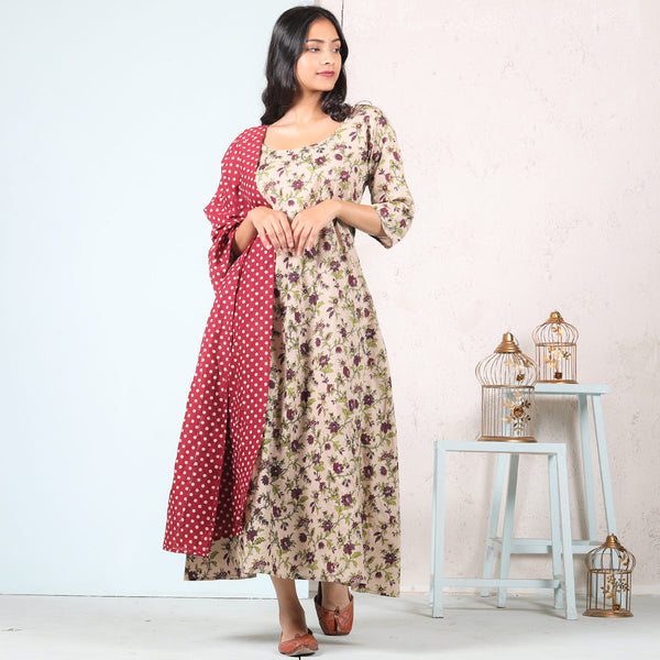 Beige Floral A-line Cotton Long Dress with Maroon Polka Odhna