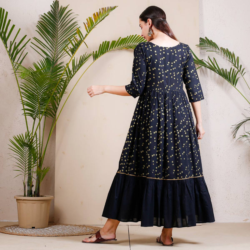 Black Gold Chintz Printed Double Frill Dress