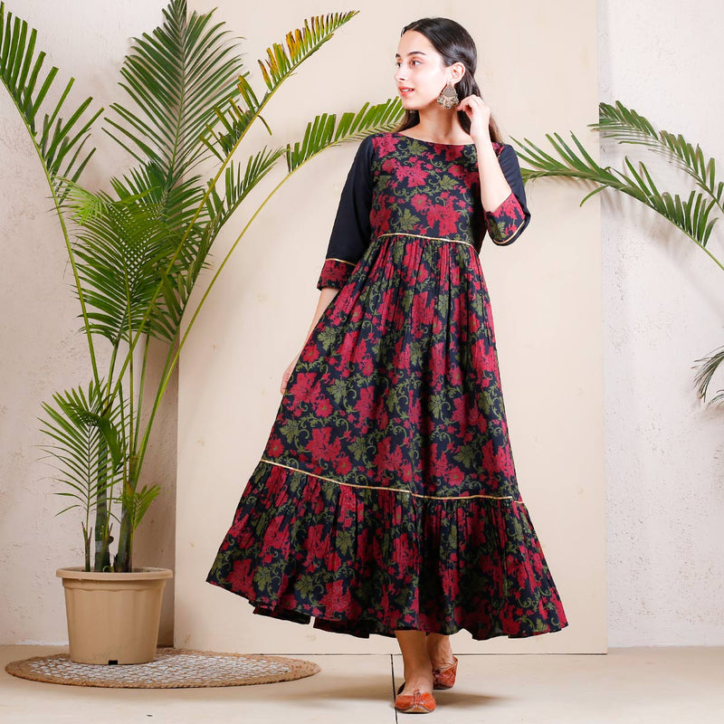 Black Dark Floral Printed Double Frill Cotton Dress