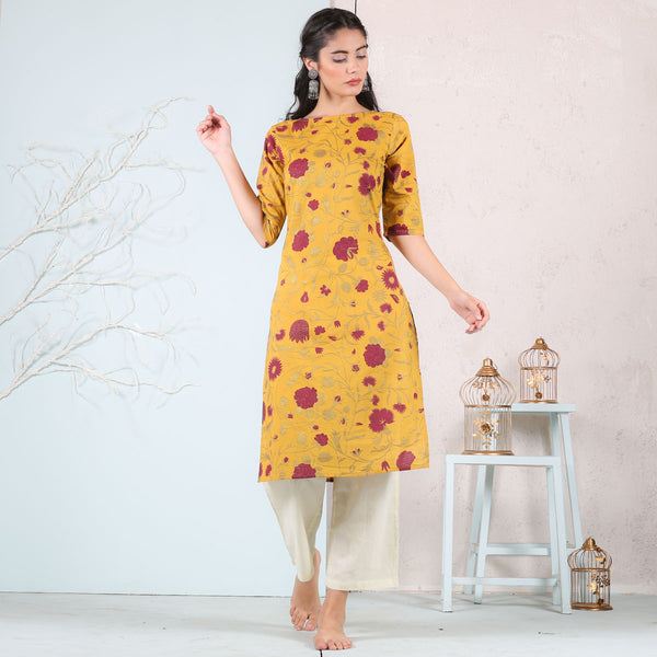 Yellow Rose Printed Kurta
