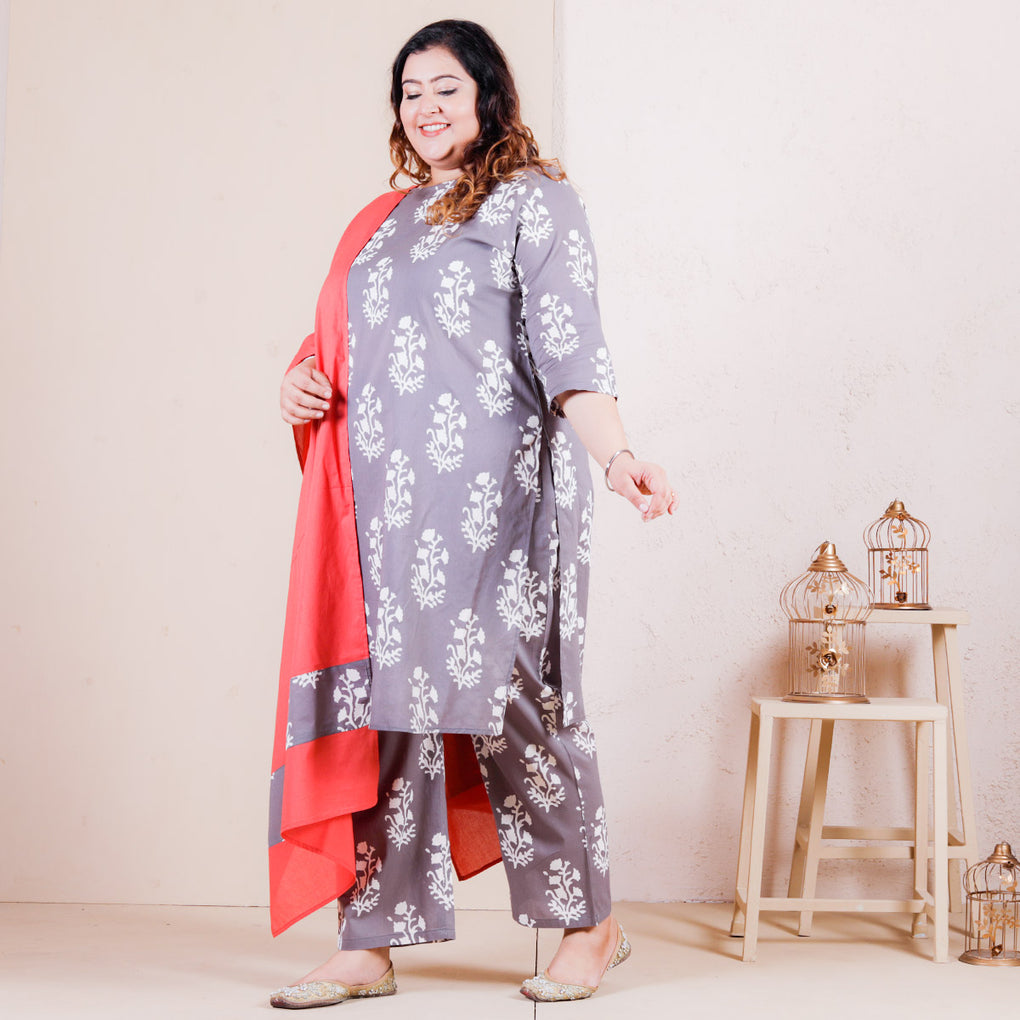 Grey Buta Printed Salwar Kurta Set with Pocket Details & Peach Odhna - SOY
