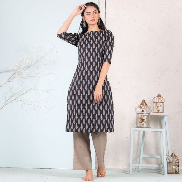 Black Leaf Printed Kurta