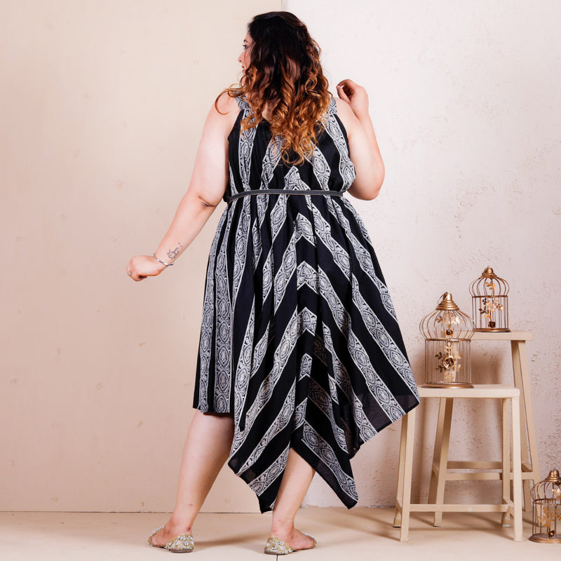 Black & White Striped Asymmetric Flared Dress - SOY