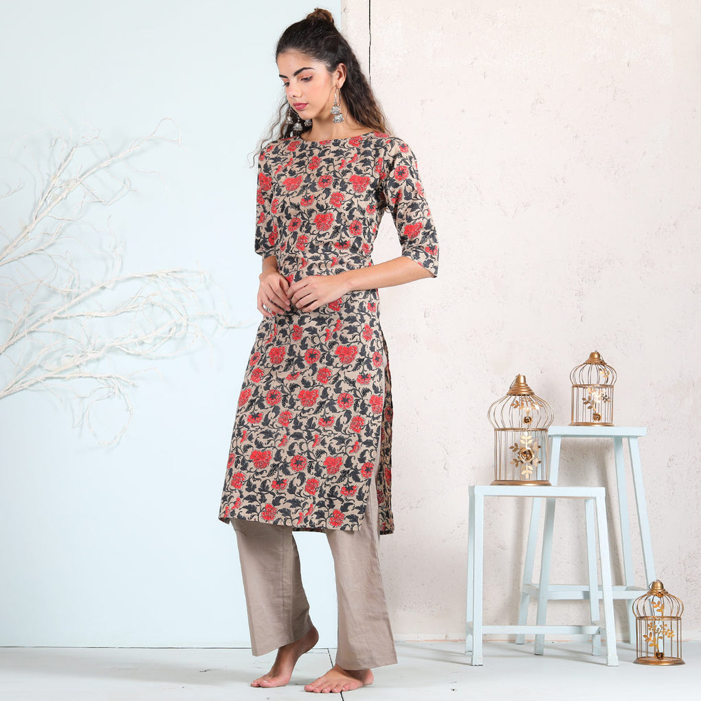 Beige Grey & Peach Jaal Printed Straight Kurta