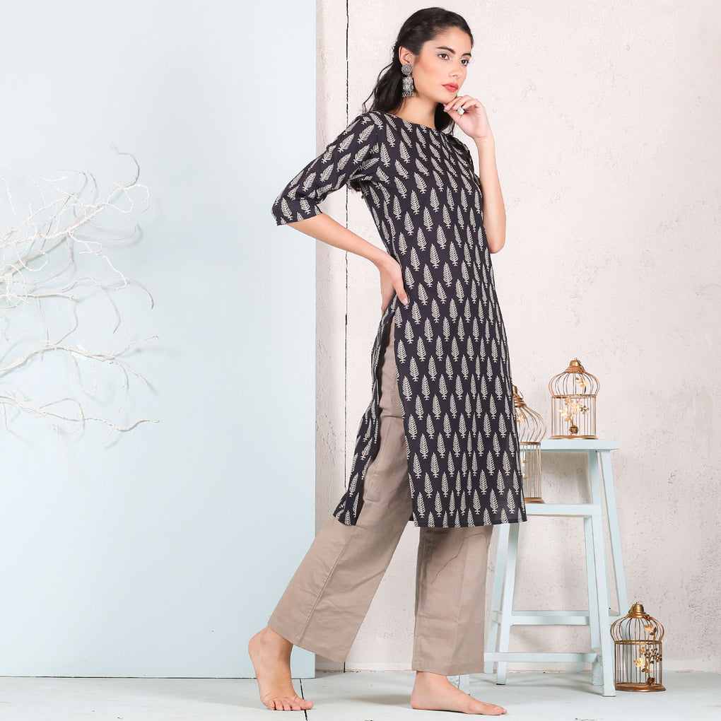 Black Leaf Printed Cotton Kurta
