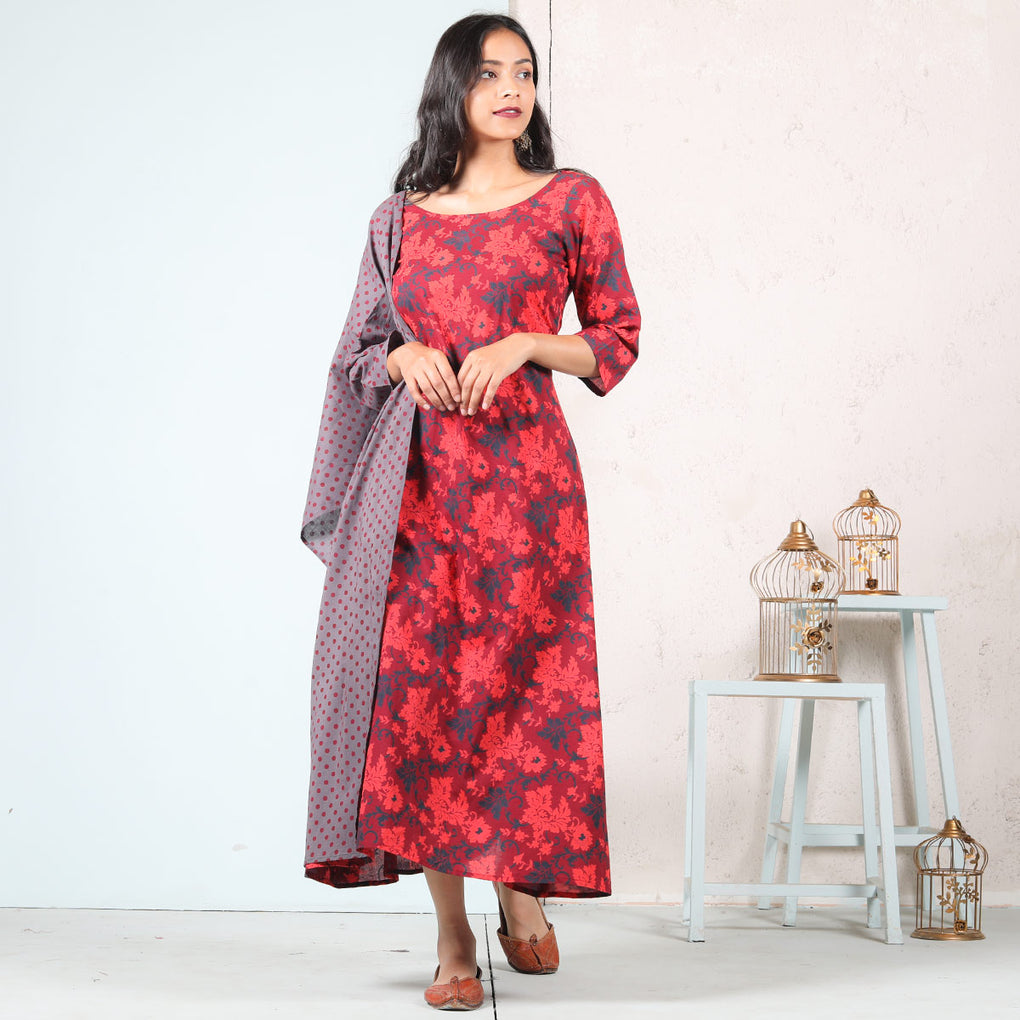 Maroon Floral Jal A-Line Cotton Long Kurti Dress With Odhna