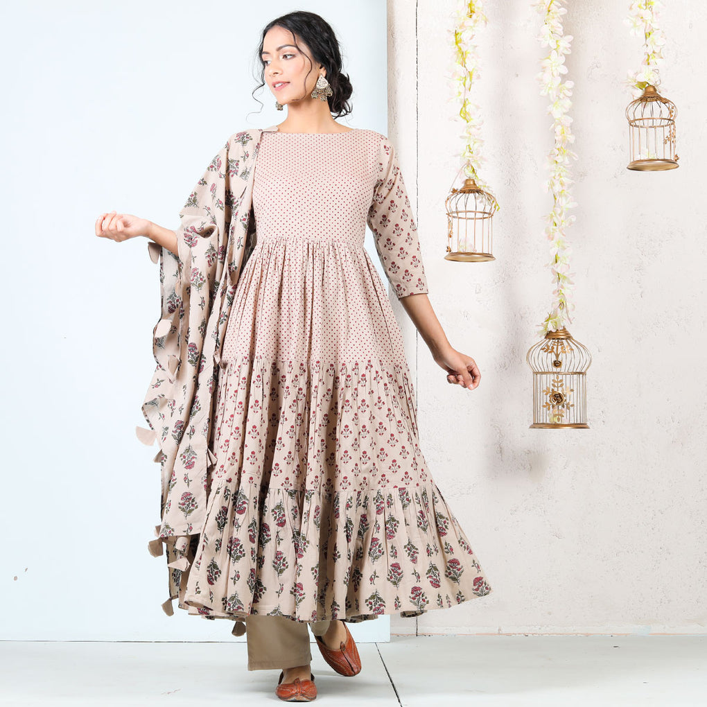Beige Meadow Floral Tiered Cotton Full Kurta Set