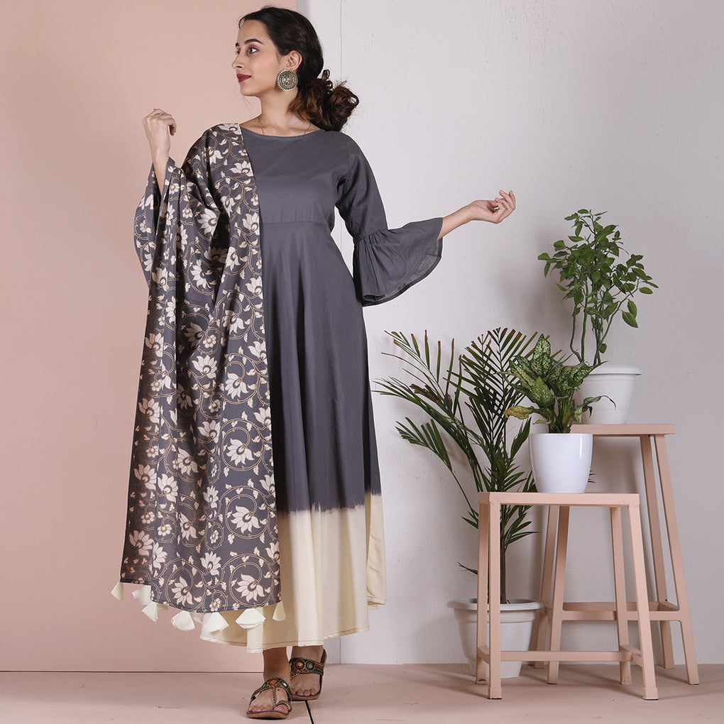 Grey & Off White Flared Long Kurta Dress with Grey Hand Printed Odhna with Tassel Details