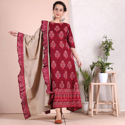 Maroon Hand Printed Long Kurti with Beige Dupatta