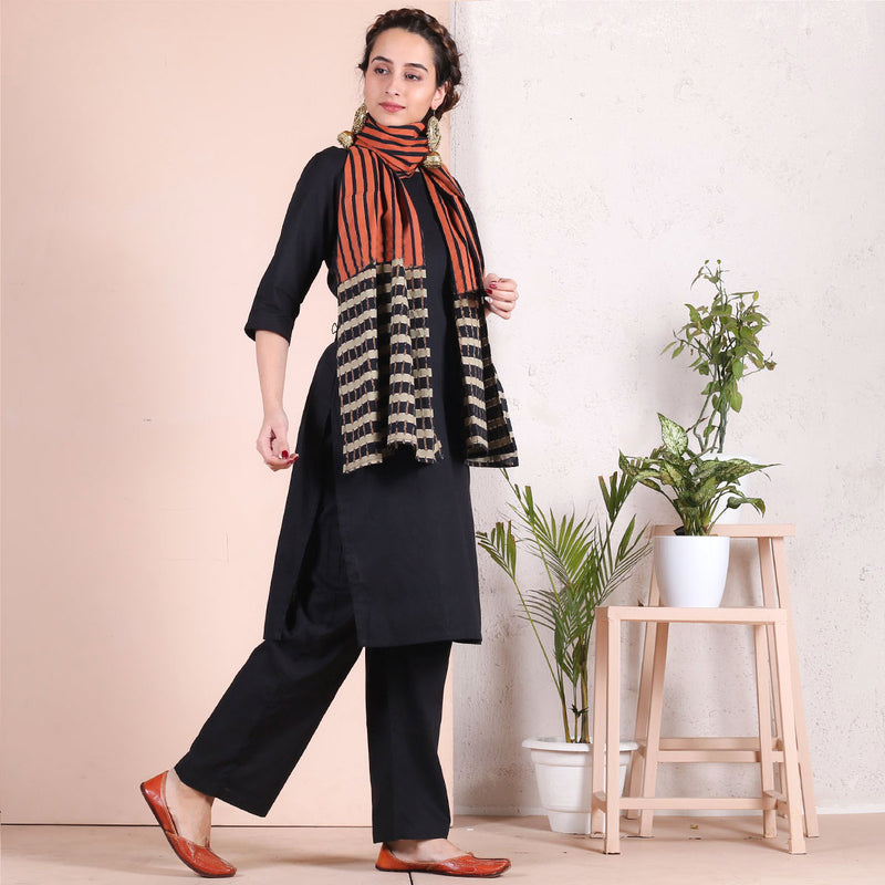 Black Salwar Kurta with Multi Printed Dupatta